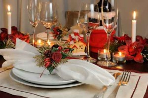 Festive Christmas table decoration